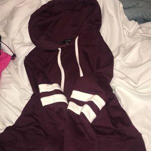 Burgundy crop hoodie